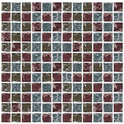 Crackle Glass Tile - 1 X 1 Crackled Glass Tile Mosaic - GC1008 Candy Blend