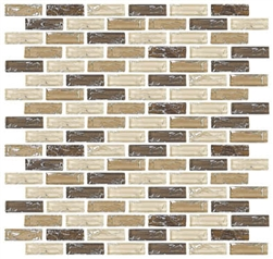 Crackle Glass Tile - 5/8 X 2 Crackled Glass Tile Mini Brick Strips Subway - GC4003 Earth Blend