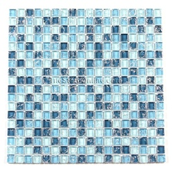 Crackle Glass Tile - 5/8 X 5/8 Crackled Glass Tile Mosaic - GC5001 Ocean Blue Blend - Glossy