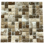 Crackle Glass Tile - Various Sized Crackled Glossy Glass and Frosted Glass Tile Mosaic - GC6004 Taupe Gray Brown Cream Blend