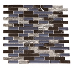 Linear Glass and Stone Mosaic - GI4003 - 5/8 X Linear Strips Sticks of Glass Tile and Black Marquina Marble Tile Mosaic