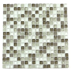 Glass Tile - 5/8 X 5/8 GI5002 Olive Oil Blend - Glossy Glass Tile, Frosted Glass Tile, Rippled Glass Tile