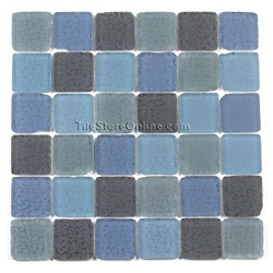 Tumbled Glass Tile - 2 X 2 GK2001 Charcoal Blue Blend - Frosted Tumbled