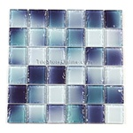 Tumbled Glass Tile - 2 X 2 GK2002 Liquid Blue Blend - Glossy Tumbled