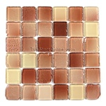 Tumbled Glass Tile - 2 X 2 GK2003 Liquid Earth Blend - Glossy Tumbled