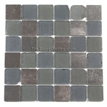 Tumbled Glass and Metallic Porcelain Tile - 2 X 2 GK2004 Charcoal Metallic Blend - Frosted Tumbled