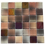 Tumbled Glass Tile - 2 X 2 GK2005 Multicolor Metallic Blend - Glossy Tumbled