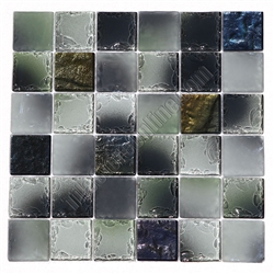 Tumbled Glass Tile - 2 X 2 GK2006 Multicolor Metallic Blend - Glossy Frosted Tumbled