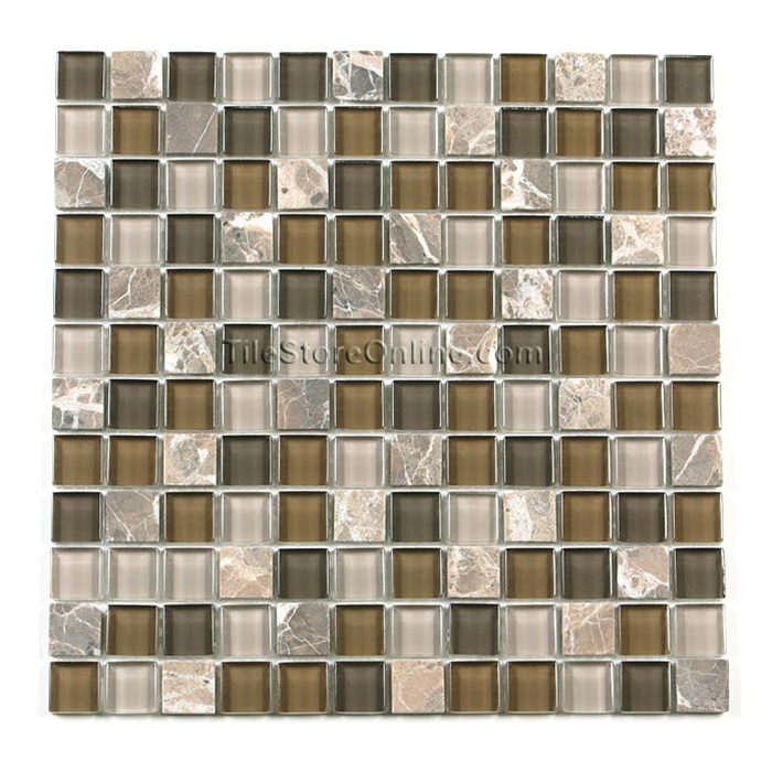 Glass tile and tumbled marble mosaic 1 x 1 gs1001 for Tumbled glass tile
