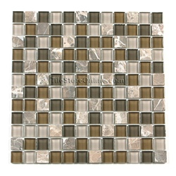Glass Tile and Tumbled Marble Mosaic - 1 X 1 GS1001 Emperador Brown Marble Blend - Glossy Glass and Tumbled Marble