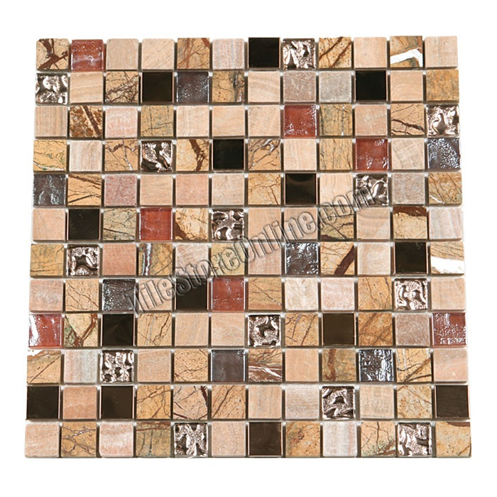 Gl Stone And Copper Metal Mosaic 1 X Gs1002 Tile Rainforest Brown Marble