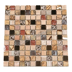 Glass Stone and Copper Metal Mosaic - 1 X 1 GS1002 Glass Tile, Rainforest Brown Marble, and Copper Metal Tile Mosaic