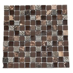 Glass Stone and Metal Mosaic - 1 X 1  GS1005 - Glass Tile, Emperador Dark Marble, and Decorative Metal Tile Mosaic