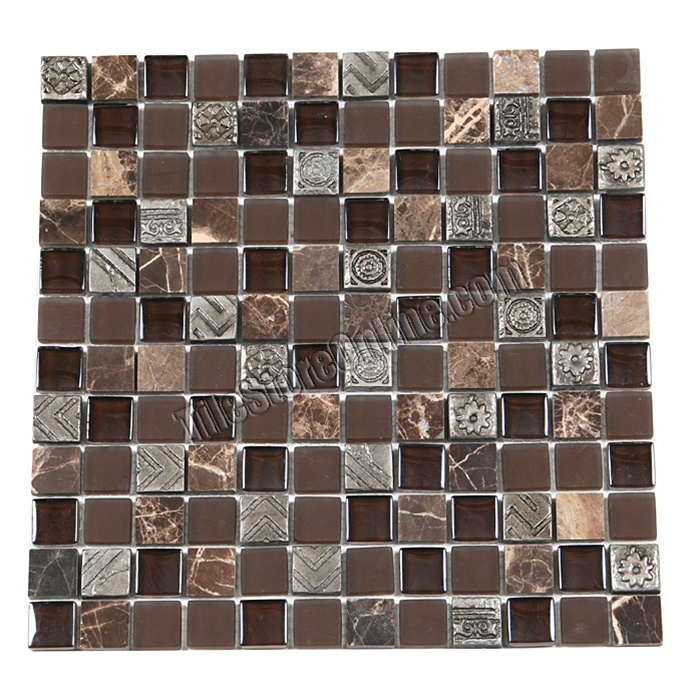 Sample Stainless Steel Insert Gray Marble Stone Mosaic: Glass Stone And Metal Mosaic