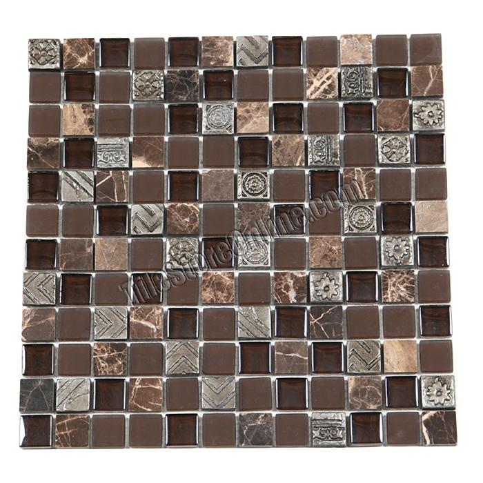 Stone And Metal Mosaic 1 X Gs1005 Gl Tile Emperador Dark