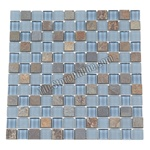 Glass Tile and Slate Mosaic - 1X1 - GS1006 Multicolor Slate, Glossy Glass, and Frosted Glass
