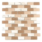 Glass Tile and Tumbled Travertine Mosaic - 1 X 2 GS3001 Brick Subway Mosaic - Frosted
