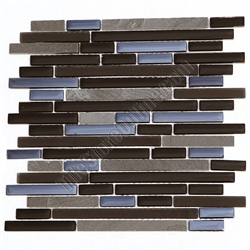 Linear Glass and Stone Mosaic Tile - GS4005 - 5/8 X Linear Strips Sticks of Glass Tile and Slate Tile