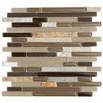 Linear Glass and Stone Mosaic Tile - GS4006 - 5/8 X Linear Strips Sticks of Glass and Slate Quartz