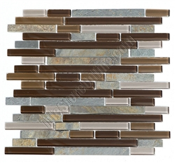 Linear Glass and Stone Mosaic Tile - GS4007 - 5/8 X Linear Strips Sticks of Glass Tile and Slate Tile