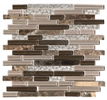 Linear Glass Stone and Metal Mosaic - GS4008 - 5/8 X Linear Strips Sticks of Glass Tile, Emperador Dark Marble, and Decorative Metal
