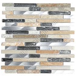 Linear Glass Stone and Metal Mosaic - GS4012 - 5/8 X Linear Strips Sticks of Glass Tile, Quartz Slate, and Brushed Aluminum Metal