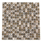 Glass Tile and Tumbled Marble Mosaic - 5/8 X 5/8 - GS5001 Emperador Brown and Glossy Glass