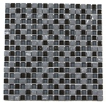 Glass Tile and Tumbled Marble Mosaic - 5/8 X 5/8 - GS5002 Marquina Black and Glossy Glass