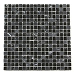 Crackle Glass Tile and Tumbled Marble Mosaic - 5/8 X 5/8 GS5003 Crackled Black Blend