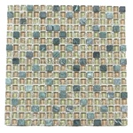Crackle Glass Tile and Tumbled Marble Mosaic - 5/8 X 5/8 GS5004 Crackled Spring Blend