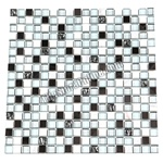 Glass Stone and Metal Mosaic - 5/8X5/8 GS5009 Club Mix - White Marble, Glass and Stainless Steel Metal Tile Mosaic