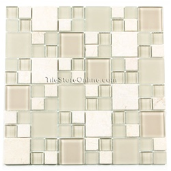 Glass Tile and Tumbled Marble Mosaic - GS6001 Various Sized Glass and Tumbled Marble Tile Mosaic