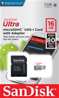 SanDisk 16GB Ultra MicroSDHC SDXC Class 10 Memory Card 80MB/S