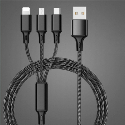 3 in 1 Multi Cable, Lightning / Type C / Micro USB Cable - Black