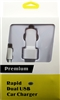 High Quality Dual USB MicroUSB V8 2 in 1 Car Charger + 6 Ft Cable - White