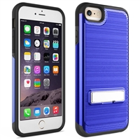 iPhone 7 / 8 Plus Brushed Metallic Armor Case with Kickstand - Blue