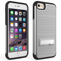 iPhone 7 / 8 Plus Brushed Metallic Armor Case with Kickstand - Silver
