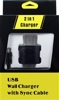 Type C USB 3.1 2in1 1A Travel Charger - Black