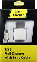 Type C USB 3.1 2in1 1A Travel Charger - White