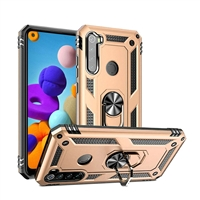 Samsung Galaxy A21 Magnetic Ring Stand Hybrid Case - Gold