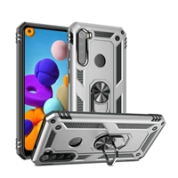 Samsung Galaxy A21 Magnetic Ring Stand Hybrid Case - Silver