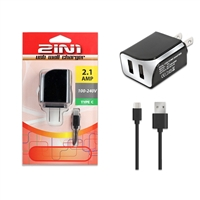 High Quality 2.1A Dual USB 2 in 1 Travel Charger for Type C - Black