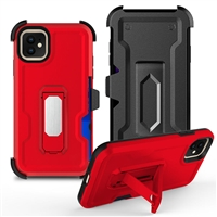 "iPhone 11 6.1"" Multi-Function Holster Combo Case - Red"