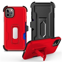 "iPhone 11 Pro Max 6.5"" Multi-Function Holster Combo Case - Red"