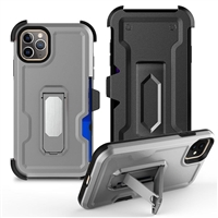 "iPhone 11 Pro Max 6.5"" Multi-Function Holster Combo Case - Silver"