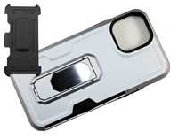 "Wholesale iPhone 12 Pro Max 6.7"" Multi-Function Holster Combo Case - Silver"