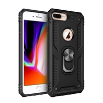iPhone 7 / 8 Plus Magnetic Ring Stand Hybrid Case - Black
