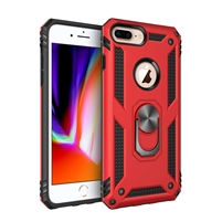 iPhone 7 / 8 Plus Magnetic Ring Stand Hybrid Case - Red