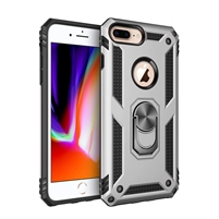 iPhone 7 / 8 Plus Magnetic Ring Stand Hybrid Case - Silver