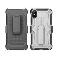 iPhone X Armor Holster Combo Case - Silver